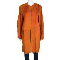 Joseph Orange Fur Kangaroo Skin Zip Front Sydney Coat M