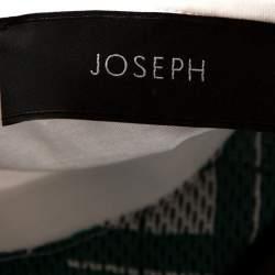 Joseph Bicolor Canvas Check Print Silk Crew Neck Top XL
