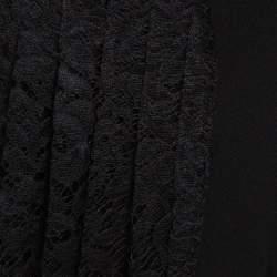 Joseph Black Stretch Crepe Pleated Lace Courtney Skirt M