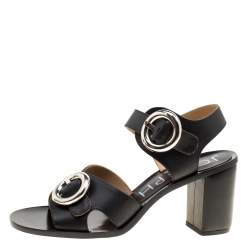Joseph Black Leather Buckle Detail Block Heel Sandals Size 40