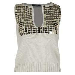 Joseph Beige Embellished Wool Sleeveless Sweater S