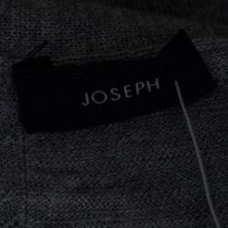 Joseph Grey Merinos Wool Ribbed Trim Asymmetric Cardigan XS