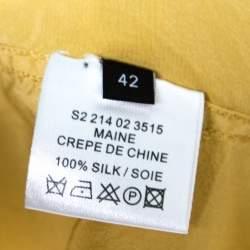 Joseph Mustard Yellow Silk Crepe de Chine Long Sleeve Maine Shirt L
