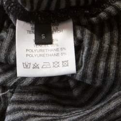 Joseph Grey Striped Tencel Stretch Knit Scoopneck Top S