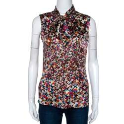 Joseph Multicolor Floral Printed Silk Front Tie Detail Sleeveless Blouse S