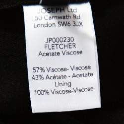 Joseph Black Crepe Zip Front Fletcher Midi Dress M