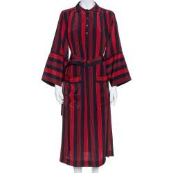 Joseph Red/Blue Striped Chester Crepe de Chine Silk Midi Dress M