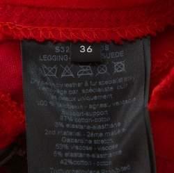 Joseph Red Lambskin & Cotton Stretch Leggings S