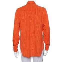 Joseph Orange Printed Silk Long Sleeve Button Front Shirt S