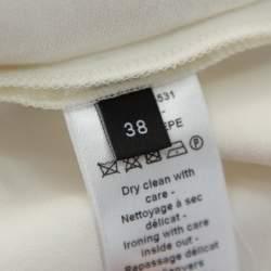 Joseph Cream Crepe Metal Neck Detail Short Sleeve Top M