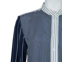 Joseph Blue and White Striped Long Sleeve Silk Shirt S