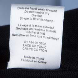 Joseph Black Knit Criss Cross Tie-Up Detail Long Sleeve Top S