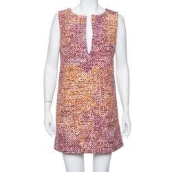 Just Cavalli Multicolor Canvas Plunge Neck Shift Dress M