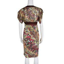 Just Cavalli Multicolor Printed Lurex Detail Short Sleeve Dress S