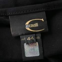 Just Cavalli Black Printed Jersey Halter Top M