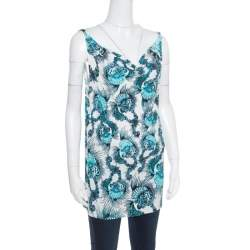 Just Cavalli White and Blue Shell Printed Cowl Neck Sleeveless Top L