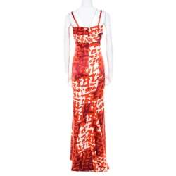 Just Cavalli Orange Abstract Printed Pleated Bodice Detail Sleeveless Maxi Dress L