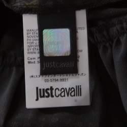 Just Cavalli Black Geometric Print Belted Long Sleeve Dress M