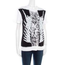 Just Cavalli Black and White Printed Studded Crew Neck T-Shirt L