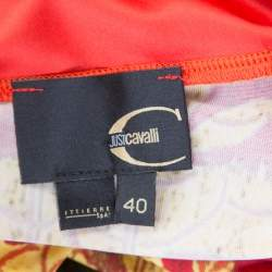 Just Cavalli Red and Yellow Printed Jersey Sleeveless Midi Dress S