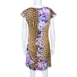 Just Cavalli Multicolor Leopard and Floral Print Cap Sleeve Shift DressM