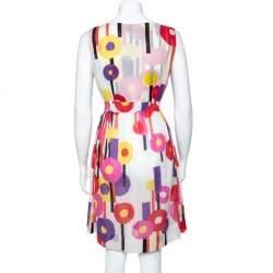 Just Cavalli Multicolor Geometric Print Cotton Voile Sleeveless Dress M