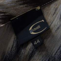 Just Cavalli Brown Leopard Print Chiffon Ruffle Collar Detail Blouse M