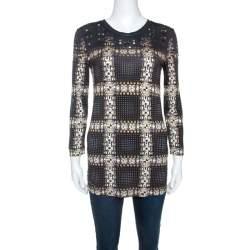 Just Cavalli Black Printed Knit Stud Embellished Long Sleeve Top  M