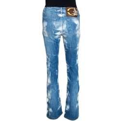 Just Cavalli Blue Acid Washed & Distressed Denim Straight Fit Jeans S