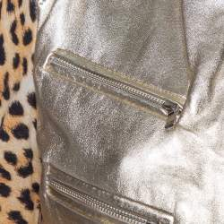 Just Cavalli Gold Leather & Leopard Print Jersey Cropped Jacket M