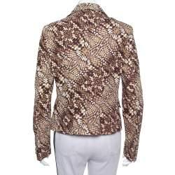 Just Cavalli Brown Printed Cotton Blazer L