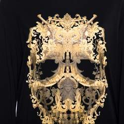 Just Cavalli Black Printed Cotton Long Sleeve Crewneck T Shirt XXL