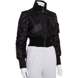 Just Cavalli Black Synthetic Quilted Cropped Bomber Jacket M