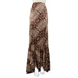Just Cavalli Brown Snake Print Silk Satin Flared Asymmetrical Hem Maxi Skirt L