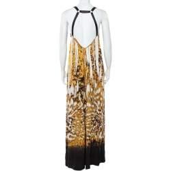 Just Cavalli Black & Gold Printed Silk Glittered Open Back Maxi Dress M