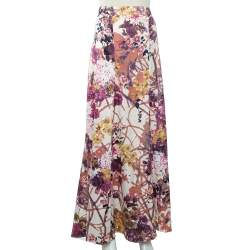 Just Cavalli Beige Floral Printed Satin Maxi Skirt L