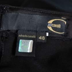 Just Cavalli Black Satin Asymmetrical Hem Maxi Skirt L