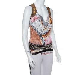 Just Cavalli Brown Printed Knit Draped Neck Sleeveless Top S