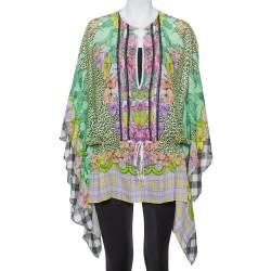 Just Cavalli Multicolor Printed Silk Waist Tie Detail Kaftan Tunic M