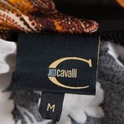 Just Cavalli Brown Printed Jersey Cowl Neck Asymmetrical Hem Top M