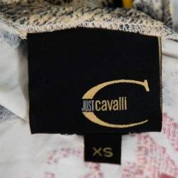 Just Cavalli Multicolor Multiprinted Knit V-Neck Top XS