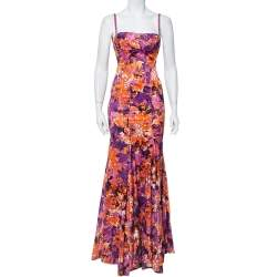 Just Cavalli Multicolor Printed Stretch Satin Bustier Maxi Dress S