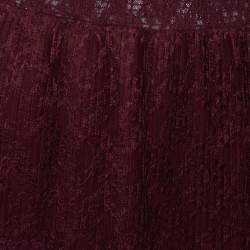Just Cavalli Burgundy Lace Tiered Paneled Maxi Skirt M