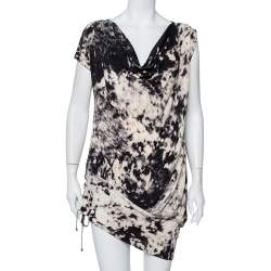 Just Cavalli Multicolor Abstract Printed Knit Tie Detail Mini Dress M