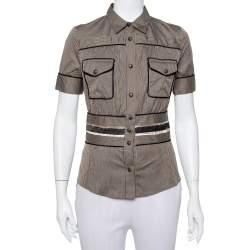 Just Cavalli Brown Striped Cotton Fitted Waist Detail Shirt S