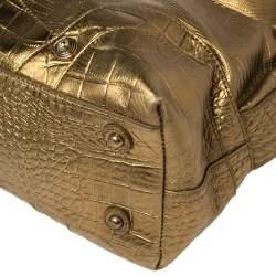Just Cavalli Metallic Gold Lizard and Croc Embossed Leather Hobo