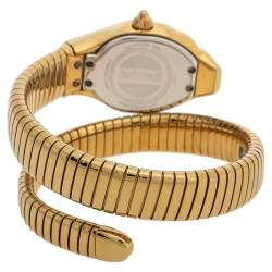 Just Cavalli Mother Of Pearl Yellow Gold Plated Stainless Steel Stylized Snake JC1L001M0025 Women's Wristwatch 22 mm