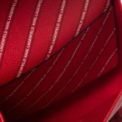 حقيبة كروس كارل ليغرفيلد شعار مخطط/K كانفاس مقوى حمراء