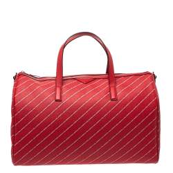 Karl Lagerfeld Red Coated Canvas and Leather K/Stripe Logo Weekender Bag
