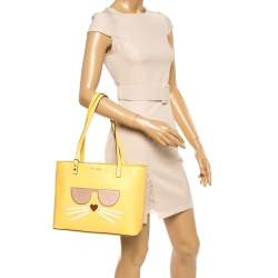 Karl Lagerfeld Yellow Leather Maybelle Cat Tote